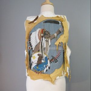 Vintage Western White Leather Vest Native American
